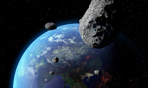 asteroids near Earth, illustration